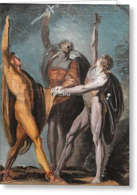 Swiss Paintings Greeting Cards - Sketch for the Oath on the Rutli Greeting Card by Henry Fuseli