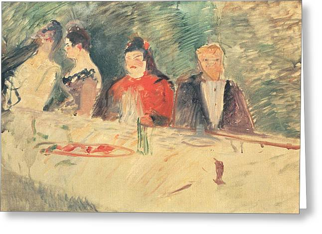 Sketch For The Supper Greeting Card by Henri De Toulouse-Lautrec