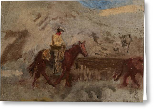 Sketch Of A Cowboy At Work  Greeting Card by Thomas Eakins