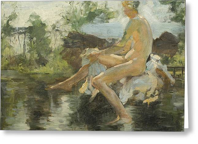 Sketch Of A Seated Boy Greeting Card by Henry Scott Tuke