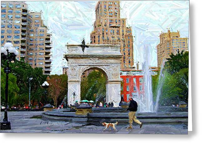 Dog Walking Digital Art Greeting Cards - Sketch of Dog Walking at Washington Square Park Greeting Card by Randy Aveille
