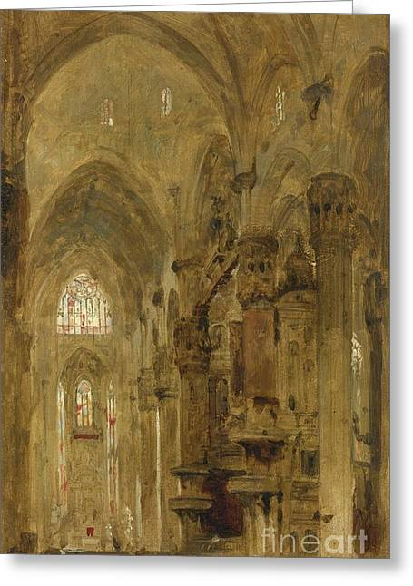 Robert R Greeting Cards - Sketch Of The Interior Of The Duomo Greeting Card by David Roberts