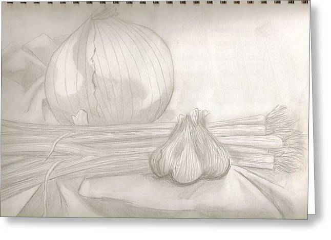 Sketchbook Greeting Cards - Sketchbook onions Greeting Card by Jeanette Lindblad