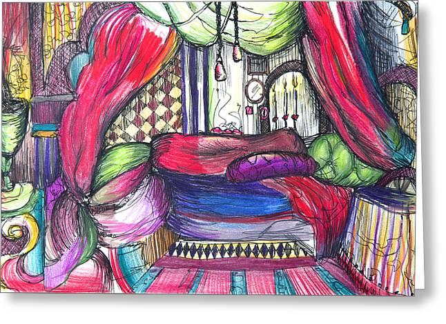Canadian Drawings Drawings Greeting Cards - Sketchbook Bedroom Greeting Card by Erica Seckinger