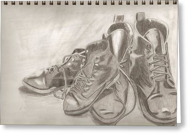 Sketchbook Greeting Cards - Sketchbook shoes Greeting Card by Jeanette Lindblad