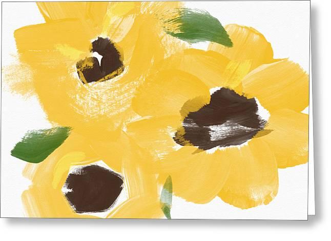 Sunflower Decor Greeting Cards - Sketchbook Sunflowers- Art by Linda Woods Greeting Card by Linda Woods