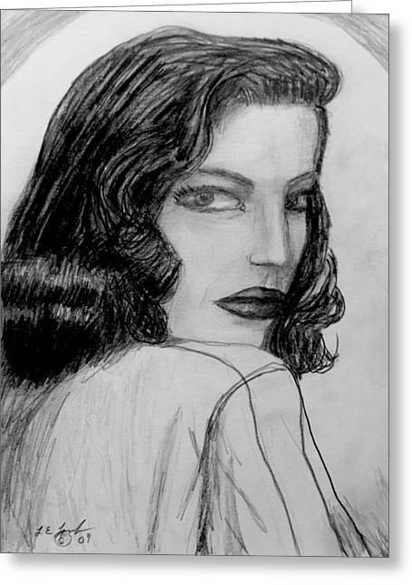 Pencil On Canvas Greeting Cards - Sketches Lauren Bacall Greeting Card by Larry Lamb