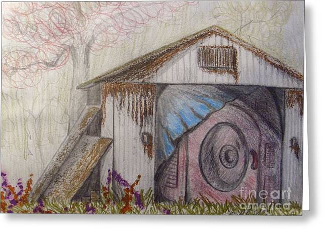 Shed Mixed Media Greeting Cards - Sketching Wait what is that under the tarp? Greeting Card by Scott Phillips