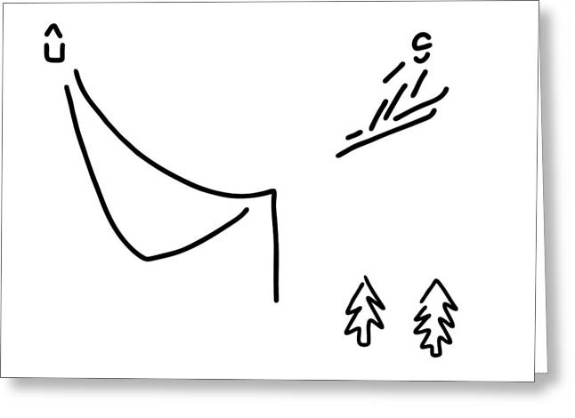 Ski Jumper Digs Ski Jumping Fly Greeting Card by Lineamentum
