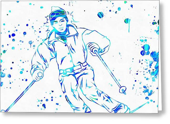 Freestyle Skiing Greeting Cards - Ski Paint Splatter Greeting Card by Dan Sproul