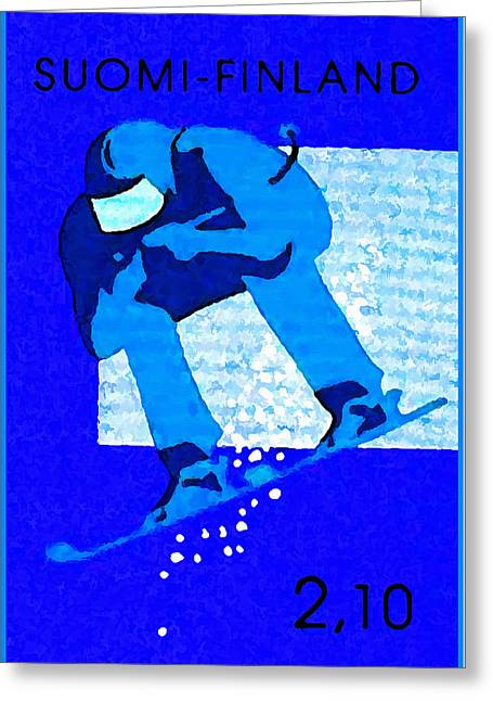 Skiing Prints Paintings Greeting Cards - Ski-run Greeting Card by Lanjee Chee