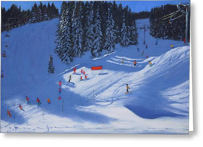 Ski School Morzine Greeting Card by Andrew Macara
