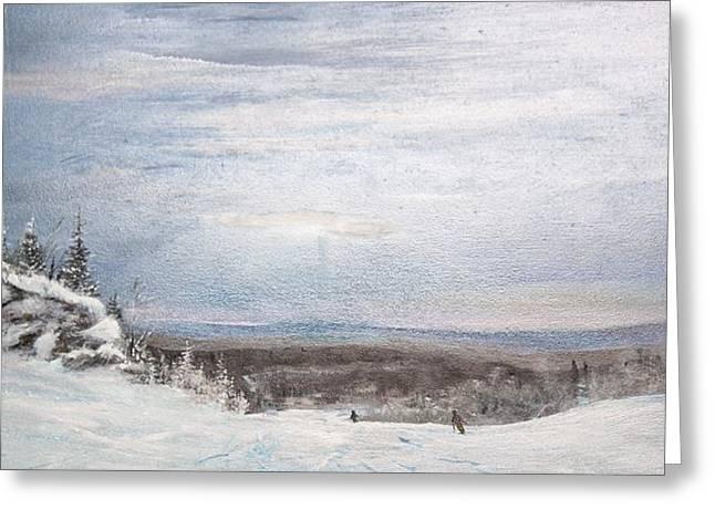 Ski The Blues Away Greeting Card by Ken Ahlering