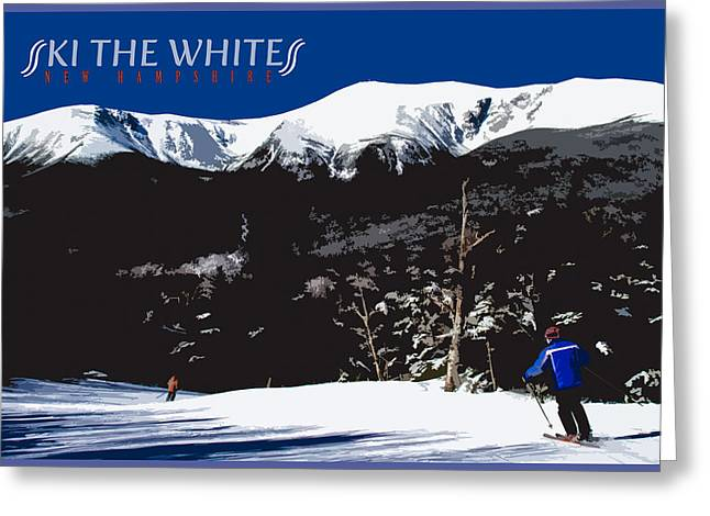 Skiing Posters Photographs Greeting Cards - Ski the Whites Greeting Card by Aaron Baker