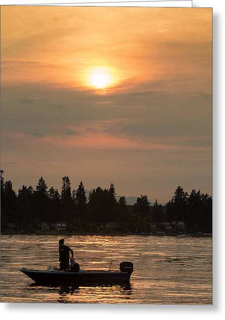 Boats In Water Greeting Cards - Skiff in Silhouette at Sunset .3 Greeting Card by E Faithe Lester