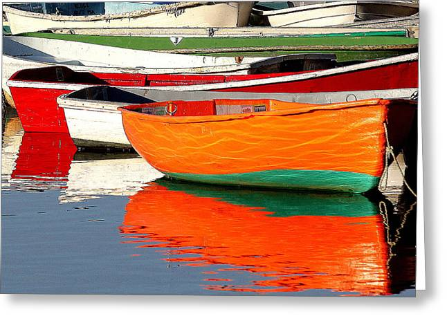 Ocean. Reflection Greeting Cards - Skiff Reflections Greeting Card by Elaine Somers