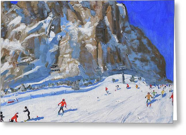 Skiing Down The Mountain,selva Gardena Greeting Card by Andrew Macara