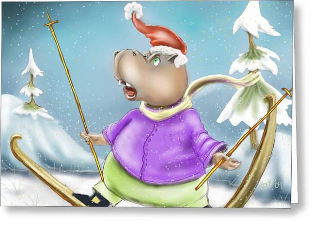 Christmas Art Greeting Cards - Skiing Hippo Greeting Card by Hank Nunes