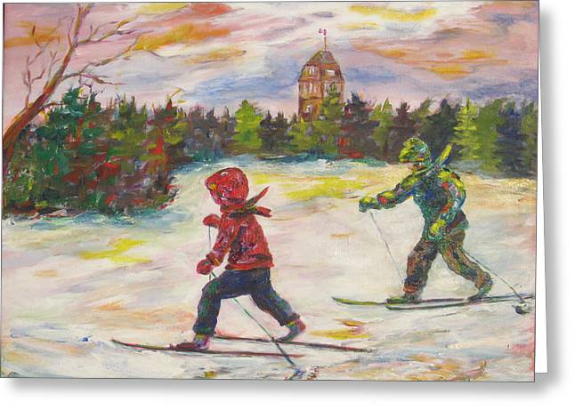 Park Scene Paintings Greeting Cards - Skiing in the Park Greeting Card by Naomi Gerrard