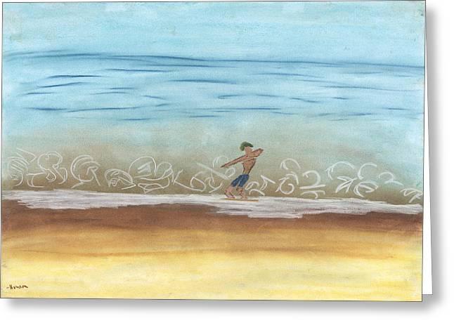 Beach Pastels Greeting Cards - Skim Border Greeting Card by Stu Hanson