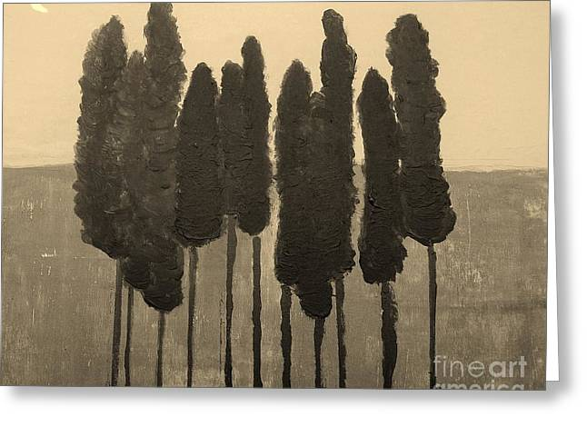 Skinny Trees in Sepia Greeting Card by Marsha Heiken