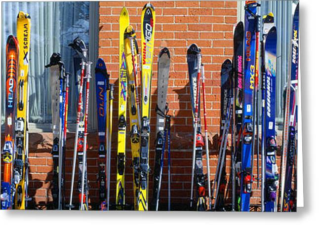 Pastimes Greeting Cards - Skis At Vail, Colorado Greeting Card by Panoramic Images