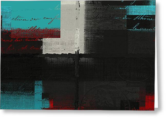 Red Abstracts Greeting Cards - Skouarios 04bttx - j234143191-v2 Greeting Card by Variance Collections
