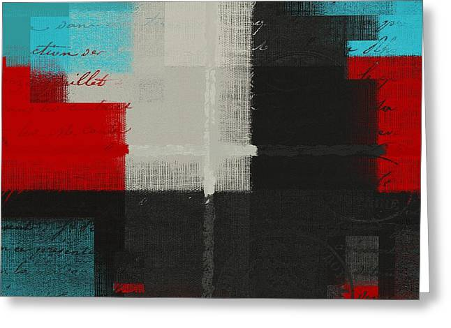 Red Abstracts Greeting Cards - Skouarios 04ttx - j103103052 Greeting Card by Variance Collections
