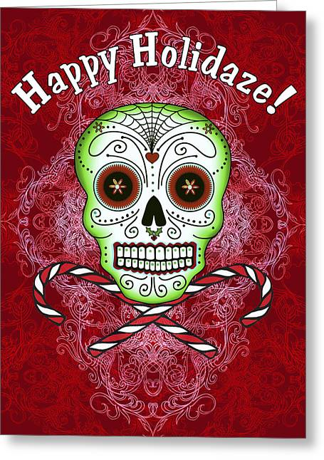Skull And Candy Canes Greeting Card by Tammy Wetzel