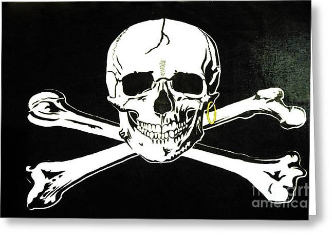 Skull And Cross Bones  Greeting Card by Micah May