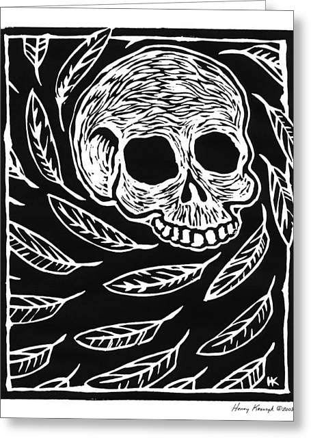 Gorey Greeting Cards - Skull and Feathers Greeting Card by Henry Krauzyk