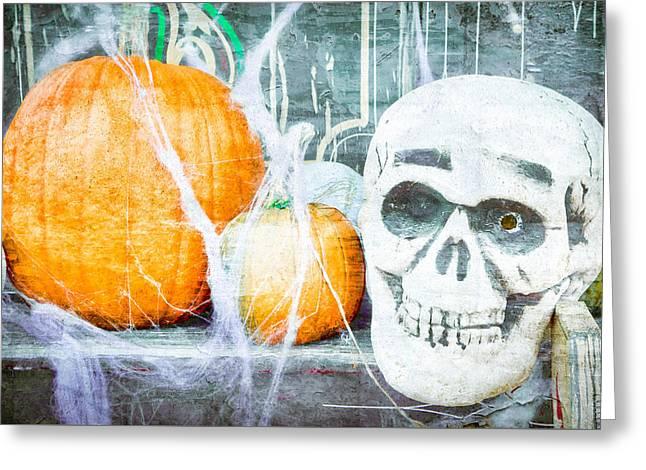 Skull And Pumpkin Greeting Card by Tom Gowanlock