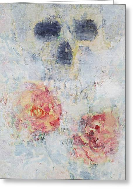 Skull And Roses Greeting Card by Fabrizio Cassetta