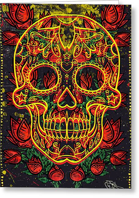 Bad Ass Mixed Media Greeting Cards - Skull and Roses Greeting Card by Josh Brown