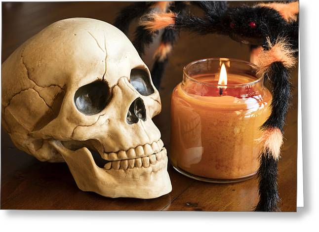 Candle Lit Greeting Cards - Skull and Spider  Greeting Card by Malisa Nicolau