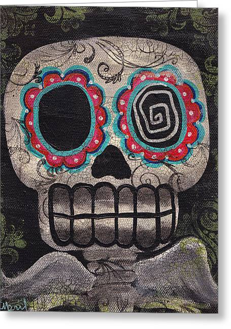 Tattoo Flash Paintings Greeting Cards - Skull Angel Greeting Card by  Abril Andrade Griffith