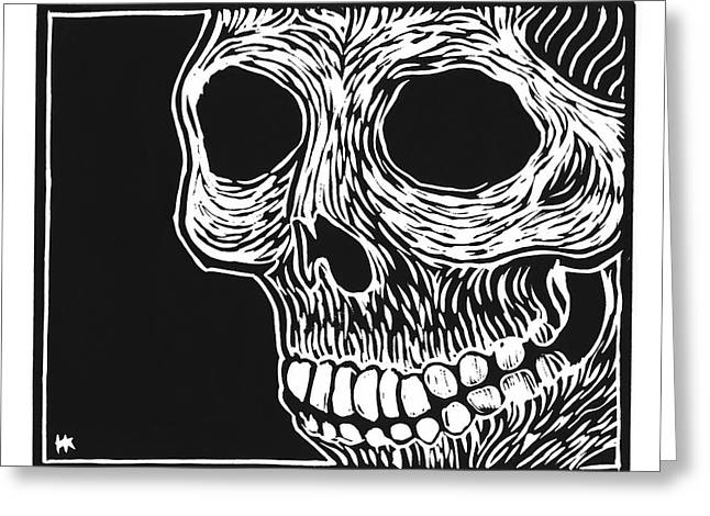 Gorey Greeting Cards - Skull Aware Greeting Card by Henry Krauzyk