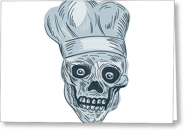 Skull Chef Cook Drawing Greeting Card by Aloysius Patrimonio