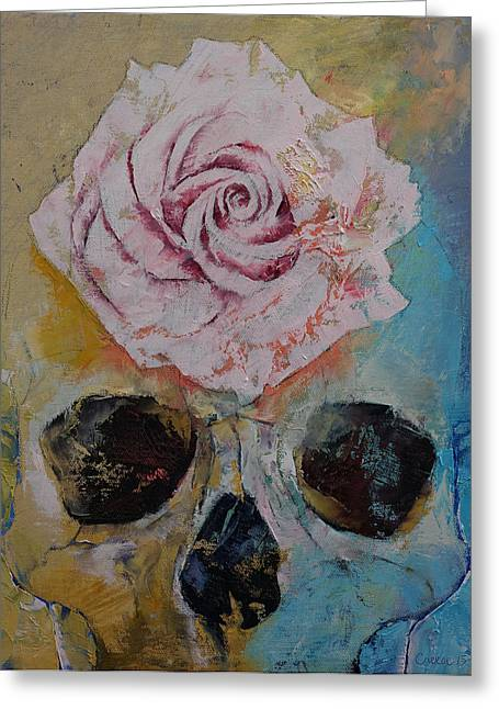 Magritte Greeting Cards - Skull Flower Greeting Card by Michael Creese