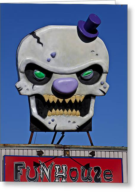 Skull Photographs Greeting Cards - Skull Fun House Sign Greeting Card by Garry Gay