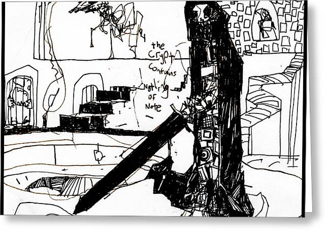 Recently Sold -  - White Drawings Greeting Cards - Skull Guy Greeting Card by Zak Smith