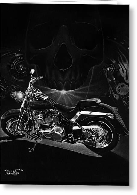 Black And White Drawing Greeting Cards - Skull Harley Greeting Card by Tim Dangaran