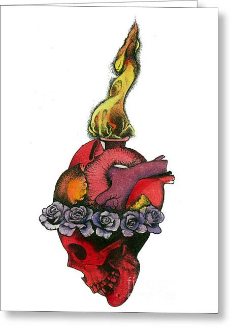 Skull Heart Greeting Card by Diana Paterson