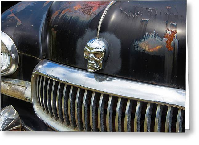 Skull On The Hood Greeting Card by Garry Gay