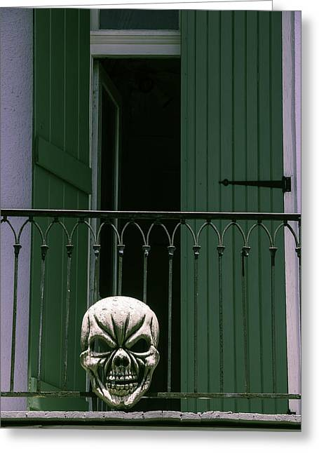 Nola Photographs Greeting Cards - Skull On Wrought Iron Rail Greeting Card by Garry Gay