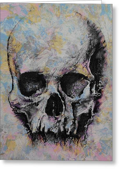 Dark Art Greeting Cards - Medieval Skull Greeting Card by Michael Creese
