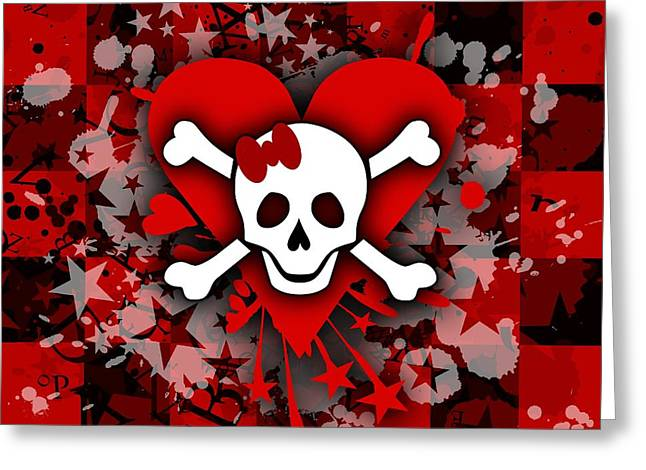 Emo Greeting Cards - Skull Romance Greeting Card by Roseanne Jones