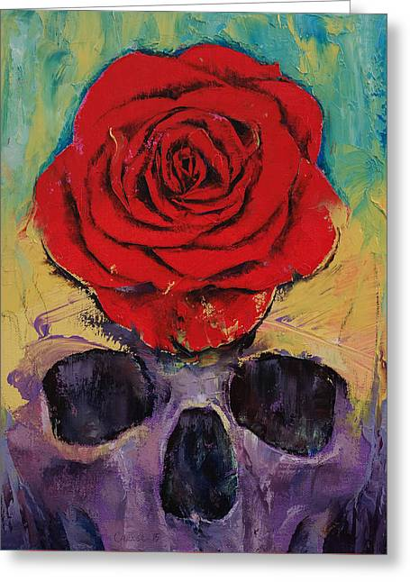 Love Lost Greeting Cards - Skull Rose Greeting Card by Michael Creese