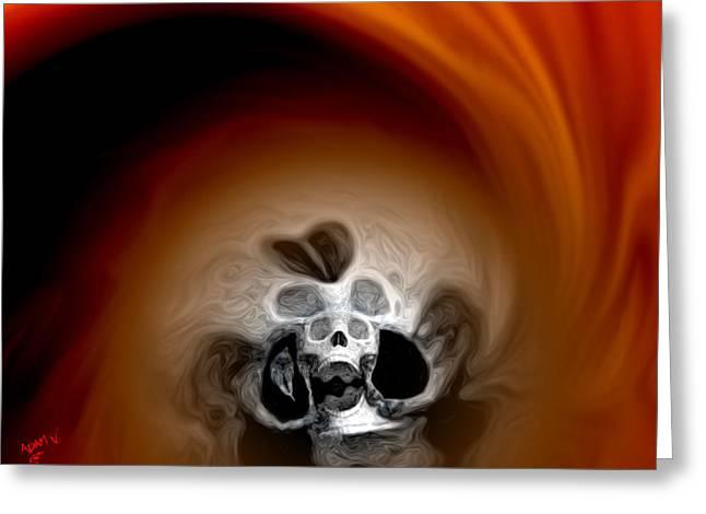 Best Sellers -  - Abstract Digital Paintings Greeting Cards - Skull Scope 3 Greeting Card by Adam Vance
