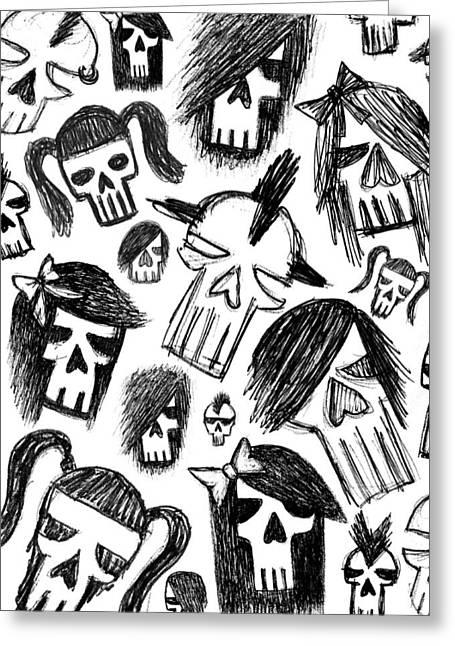 Skull Sketch Collage Greeting Card by Roseanne Jones